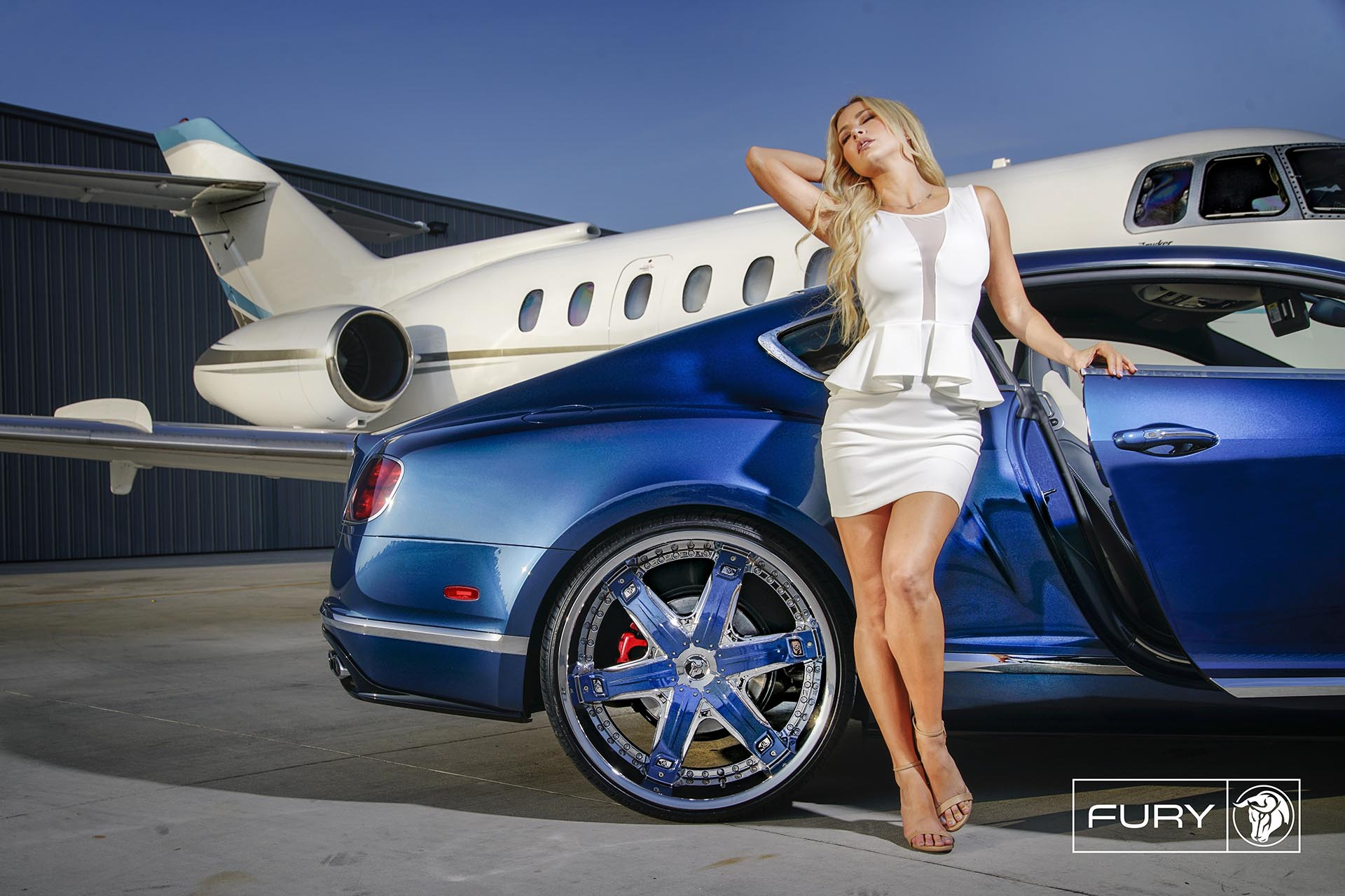 Chrome Diablo Fury Wheels on a Bentley Continental - Featuring Lina Posada