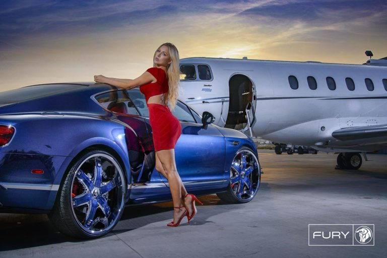 Chrome Diablo Fury Wheels on a Bentley Continental – Featuring Lina Posada