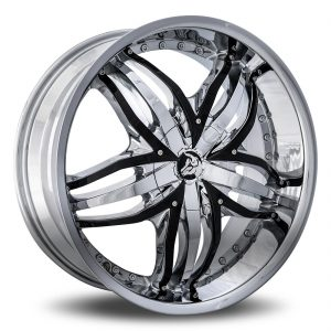 Diablo Angel Aftermarket Wheel - Chrome with Black Inserts