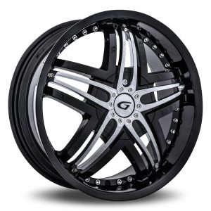 Diablo Blitz Aftermarket Wheel - Black with Chrome Inserts