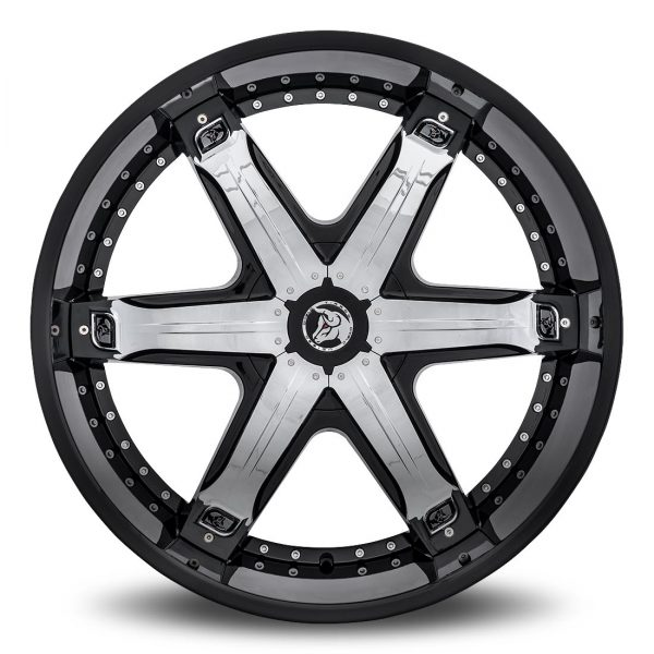 Diablo Fury Aftermarket Wheel - Black with Chrome Inserts