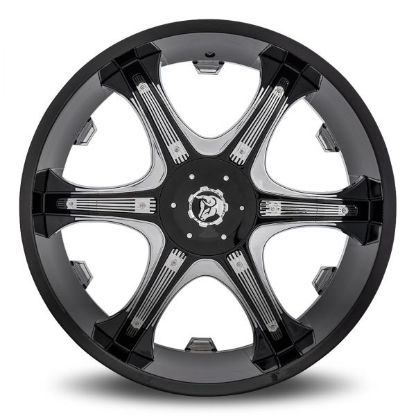 Diablo Grill Aftermarket Wheel - Black with Chrome Inserts